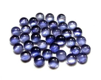 10 pieces 4mm Blue IOLITE Cabochon Round Gemstone, 4mm Iolite Round Cabochon Gemstone, Natural Blue Iolite Cabochon Round Loose Gemstone