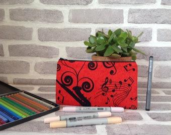 Music pencil case, Saxophone pencil case,  gift for music teacher, gift for her, gift for him, saxophone player, school supplies