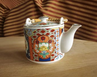 Vintage Sakura IMARI WARE Japan Collectible Teapot w/ Bamboo handle