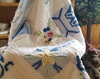 Blue and White Vintage Chenille Baby Quilt
