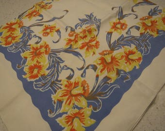 Square vintage tablecloth blue with yellow and orange