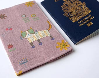 Cute Chill CAT Travel, Passport Cover, Passport Holder, Passport Case, Passport Protector, Fabric Cover, Travel, Passport, Animal Lover