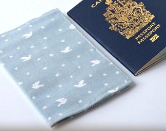 Cute Baby Blue BIRD Travel Passport Cover, Passport Holder, Passport Case, Passport Protector, Fabric Cover, Passport