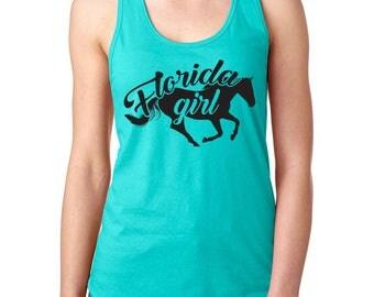 Florida Girl - Pony Pressed Vinyl Tank Top, Horse, Equestrian, Shirt