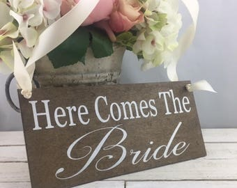"""Here Comes The Bride Sign-12""""x 5.5"""" Rustic Wedding Sign-Ring Bearer Sign-Flower Girl Sign-Country Chic Wedding Sign"""
