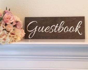 "Guestbook Sign-Rustic Guestbook Wood Sign-12""x 4.5"" Wood Sign-Wedding Sign"