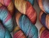 Mwwah (OOAK) | yak silk merino single ply fingering weight 120 g 523 yds | yellow merlot burgundy rich brown denim teal blue