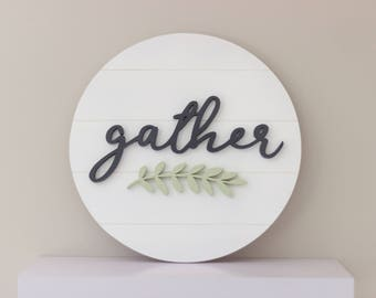 Gather Wood Sign - Farmhouse Wood Sign - 3D Wood Sign - Shiplap Sign - Housewarming Gift