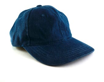 Dark Wash Blue Denim Dad Hat Baseball Cap // Distressed Blue Hat // Low Profile