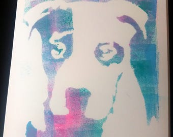 Stencilled dog greetings card