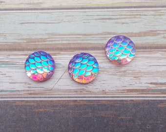 "10pcs - Cabochon ""Iridescent Violet"" - round - 12 mm - Mermaid - dragon - AB color, iridescent, Rainbow, jewelry, DIY, hobby"