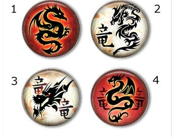 Dragon magnets or pins, Oriental dragons, refrigerator magnets, fridge magnets, office magnets
