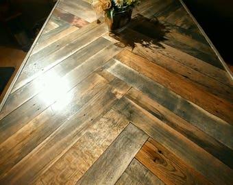 Pallet Wood Dining Table & Base, Herring Bone Dining Table, Pallet wood Dining Table, Reclaimed Dining Table, Dining Table, Farmhouse Table