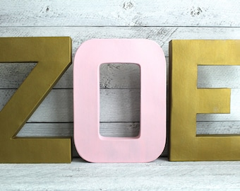 Girl Nursery Letters - Gold and Pink Nursery - Gold Wall Letters - Baby Girl Name Sign - Modern Nursery Decor - Metal Letters - Dorm Room