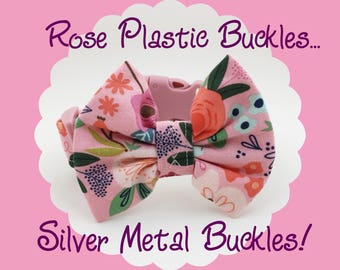 Pink Modern Floral & Bow Dog or Puppy Collar