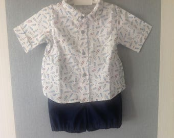 "Armand"" short-sleeved shirt and shorts set"