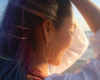 Gold Heart Hoop Earrings - Ocean Bead