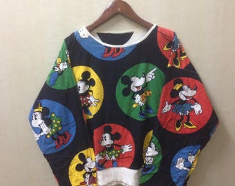 Vintage Mickey Mouse Full Print Reversible Sweatshirt Rare