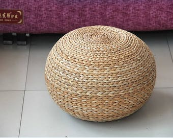 round floor cushion/straw pouf/floor pouf/footstool/floor seating/ball pouf/rustic pouf/home decor/pouf ottoman/straw stool/gift