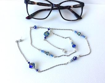 Chain glasses,Swarovski crystal, glasses cord,attaches Glasses,Chain,Chain Glasses, Reading Glasses,Glasses Collar,Glasses Leash,Sunglasses