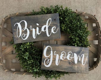 Bride and Groom Signs, Rustic Wooden Sign, Wedding Decor, Wedding Gift, Head Table, Chair Backs, Photo Props, Customizable Sign, 10 X 5.5