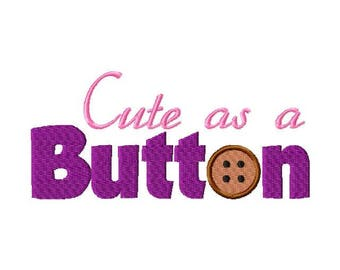 cute as a button embroidery design