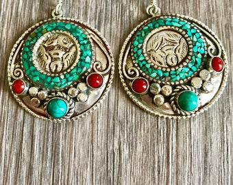 Tribal hoop earrings, turquoise drop earrings, Tibetan earrings, Nepalese earrings, ethnic jewelry, boho gypsy Jewellery, boho earrings,gift