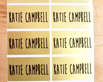 30 Large Size Metallic Gold Waterproof Name Stickers- Daycare Labels- School Labels- Large Rectangle Labels