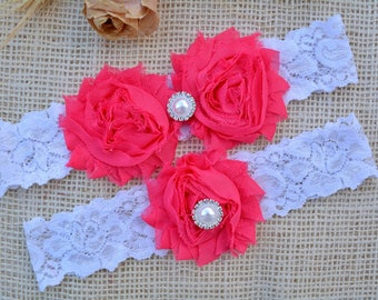 Wedding Garter Set, Bridal Garter, Prom Garter, Rhineston Garter, Shabby flowers, Keepsake - Toss, Hot Pink Garter. Choose Your Color, Pink