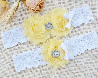 Light Yellow Garter, Bridal Clothing Yellow, Garter Set Yellow, Lace Garter Set, Yellow Keep Garter, Wedding Garter Belt, You Pick Colors