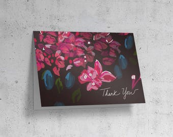 Printable Thank You Card, Printable Floral Card, Thanksgiving Card, Print at Home Card,  Bougainvillea Card, Thank you Wedding Cards, Thanks
