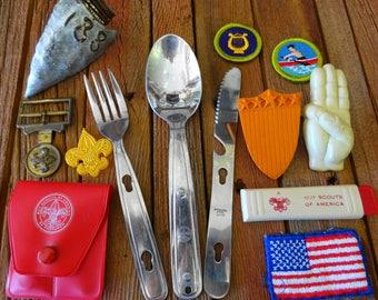 Vintage-Boy-Scout-Silverware-Belt-buckle-Tie-Sliders-Toothbrush-awards-Lot-13-EA
