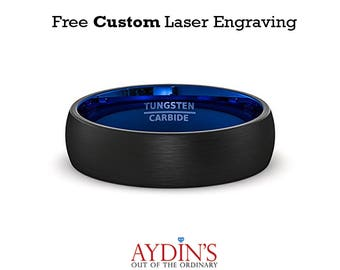 Mens Wedding Band 6mm Black Brushed Inside Deep Blue Dome Comfort Fit Tungsten Carbide Wedding Ring