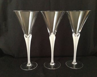 Agean Frost by Sasaki, vintage 1970s Crystal Wine Glasses.