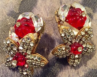 Gorgeous Miriam Haskell clip-on earrings with Red Mellon cut bead and Rhinestones.. Bling at its BEST!