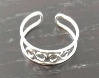 Vintage Sterling Silver Toe Ring - Double Infinity Design