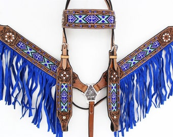 Blue Cross Navajo Beaded Fringe Headstall Leather Western Horse Trail Bridle Breast Collar Plate Barrel Racer Cowgirl Bling Tack Set