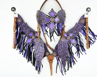 Purple Angel Wings & Cross Western Horse Headstall Bridle Breast collar Set With Fringe And Bling Crystals
