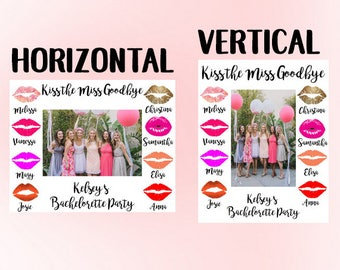 Kiss the Miss Goodbye Photo Frame, Bachelorette Party Photo, Bridal Party, Bridal Shower, Miss to Mrs, Bride to be, Bridal Photo