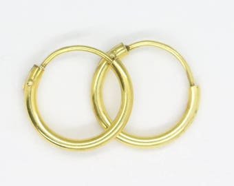 Vintage gold hoop earrings/ gold plated silver hoops/ small hoop earrings/ vintage earrings/ vintage silver/ simple hoops/80's/free shipping