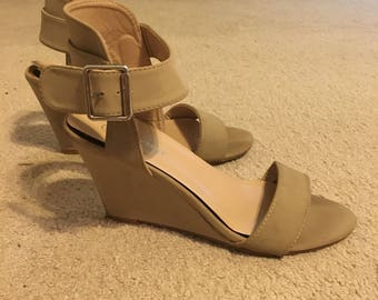 Forever 21 Taupe Sandal Ankle Strap High Heels Size 7 1/2