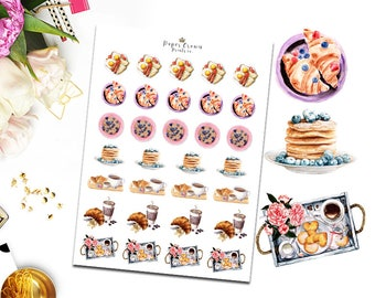 BREAKFAST FOOD Icons Planner Stickers/Functional Meal Icon Sticker Kit for Erin Condren/Happy Planner/Personal Planner/Travelers Notebook