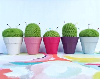 Crocheted Cactus Pincushion in Pot, Handmade Pincushion, Sewing Accessory