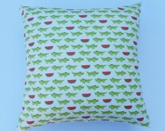 kids cushion cover with green crocodile design