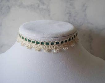 Green and beige crocheted choker necklace