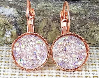Pale Pink Druzy Earrings - Leverback Earrings - Drusy - Earrings - Drop Druzy Earrings - Bridesmaid Gift - Flower Girl Earrings - Gift -