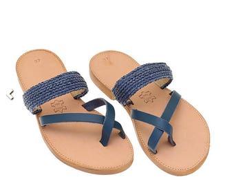 Leather Sandals,Sandals,Greek sandals,Blue ,Strappy Sandals,Summer Shoes,Ancient Greek Sandals,Handmade Sandals