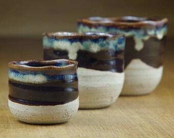 Set of Three Nesting Ceramic Cups, Pottery Cups, Handmade Stoneware Teacups, Handless Mugs