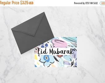 RAMADAN SALE Eid Mubarak Printable Greeting Card, Floral Greeting card for Muslims, Eid Kareem, Happy Eid Marble, Pink and Floral Card for M