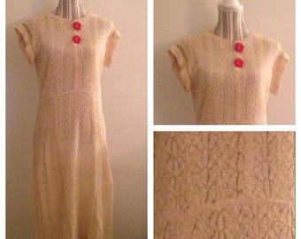 Anniversary Sale Vintage 40's Cream Colored Knit Dress